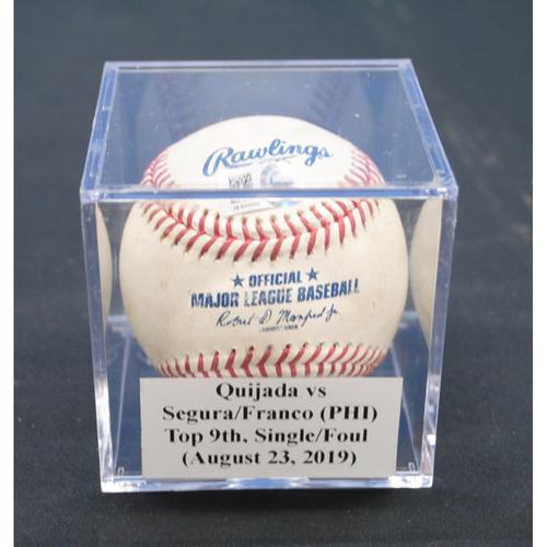 Photo of Game-Used Baseball: Jose Quijada vs Jean Segura/Maikel Franco (PHI), Top 9th, Single/Foul - August 23, 2019