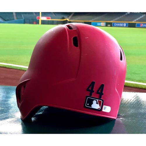 Photo of Paul Goldschmidt Game-Used Batting Helmet-- 8/2/18 vs. SF Giants