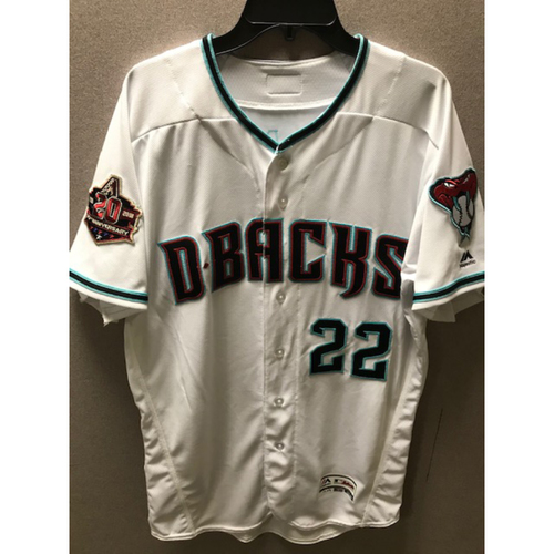 Photo of Jake Lamb 2018 Team-Issued Home Alternate Jersey With Commemorative 20th Anniversary Patch