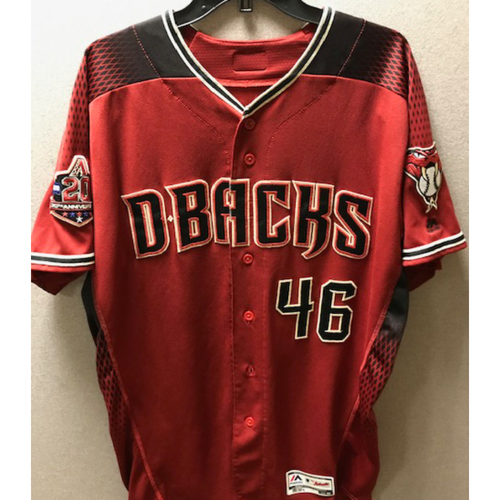 Photo of World Series Champion Patrick Corbin 2018 Team-Issued Red Alternate Jersey - Features D-backs 20th Anniversary Sleeve Patch
