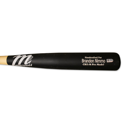 Photo of Brandon Nimmo #9 - Team Issued Full Bat - Black and Beige Marucci Model