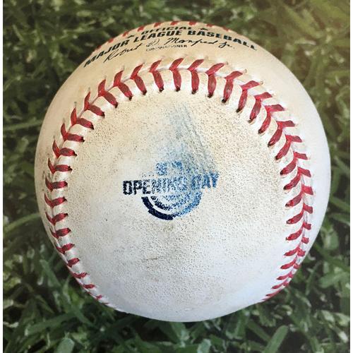 Photo of Game-Used Home Opener Baseball CHW@MIL 08/03/20 - Evan Marshall - Omar Narvaez: Foul