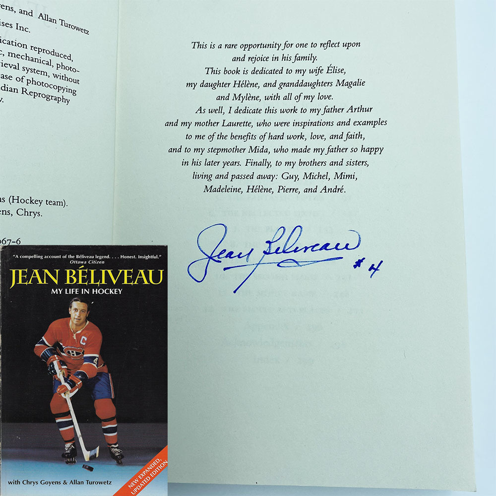 Jean Beliveau Autographed Softcover Book - My Life in Hockey