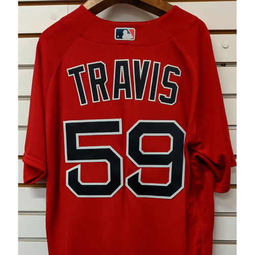 Photo of Sam Travis #59 Team Issued Nike Red Spring Training Jersey