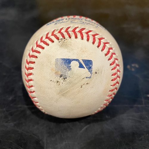 Photo of 2021 Game Used Baseball used on 4/28 vs. COL - B-6: Jordan Sheffield to Tommy La Stella - Single to RF