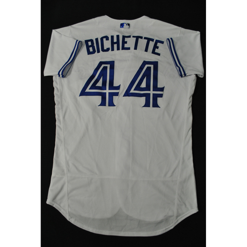 Photo of Hank Aaron Chasing the Dream Foundation: Bo Bichette 2021 MLB All-Star Workout Day BP-Worn # 44 Jersey
