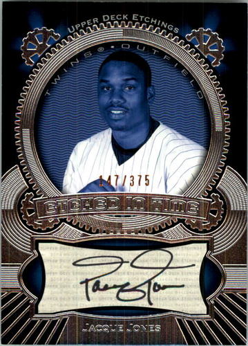 Photo of 2004 Upper Deck Etchings Etched in Time Autograph Black #JJ Jacque Jones/375