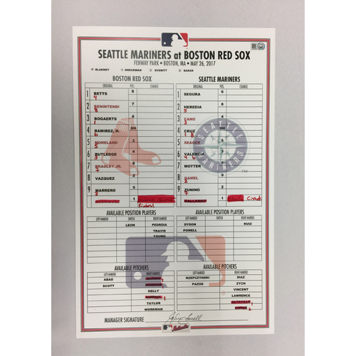Photo of Mariners at Red Sox  May 26, 2017 Game-Used Lineup Card - Red Sox  win 3 to 0