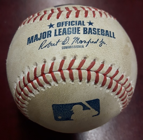 Photo of Authenticated Player Collected Baseball - Home Run by Randal Grichuk (4) against Andrew Cashner. Bottom 5. June 8, 2018.