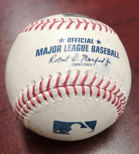 Photo of Authenticated Game Used Baseball - Jackie Bradley Jr. Strikeout and 4 Pitches to Mookie Betts. Betts Hit for the Cycle in the Game. (Aug 9, 2018 vs Ryan Borucki: Top 4). 1st MLB Cycle of 2018 Season.