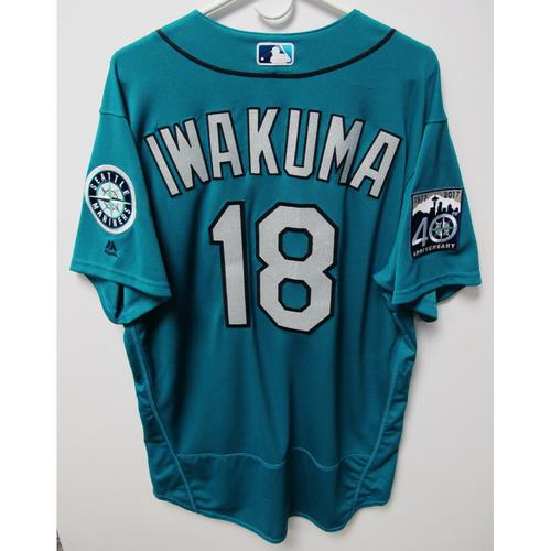 Photo of Hisashi Iwakuma 2017 Team-Issued Green Jersey