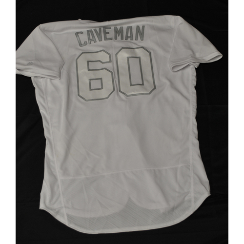"Photo of Jake ""Caveman"" Cave Minnesota Twins Game-Used 2019 Players' Weekend Jersey"