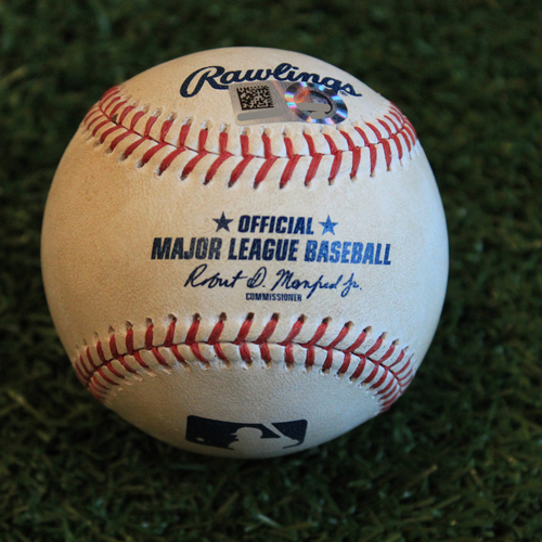 Photo of Game-Used Baseball: Ryan Eades Pitched Strikeout to Whit Merrifield (8/30/19 - BAL @ KC)