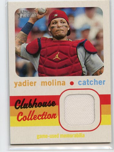 Photo of 2020 Topps Heritage Clubhouse Collection Relics #CCRYM Yadier Molina
