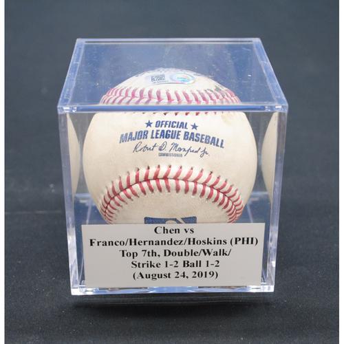 Game-Used Baseball: Wei-Yin Chen vs Maikel Franco/Cesar Hernandez/Rhys Hoskins (PHI), Top 7th, Double/Walk/Strike - August 24, 2019