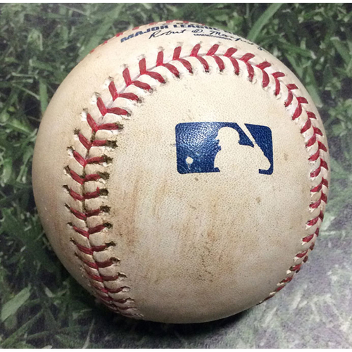 Photo of Game-Used Baseball CHC@MIL 09/08/19 - Adrian Houser - Ben Zobrist: RBI Double