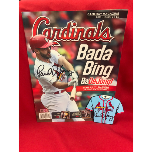 Photo of Paul DeJong Autographed Cardinals GameDay Magazine and Steel Magnet