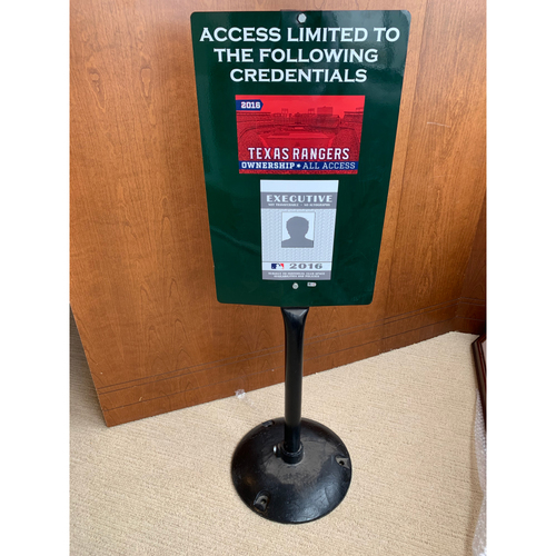 Photo of Restricted Access Sign - Displayed Outside Home Clubhouse at Globe Life Park in Arlington
