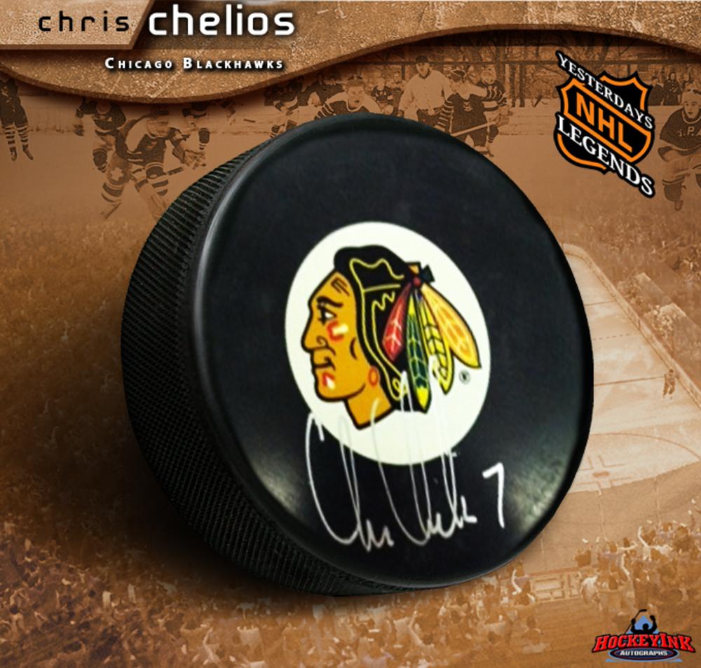 CHRIS CHELIOS Signed Chicago Blackhawks Puck