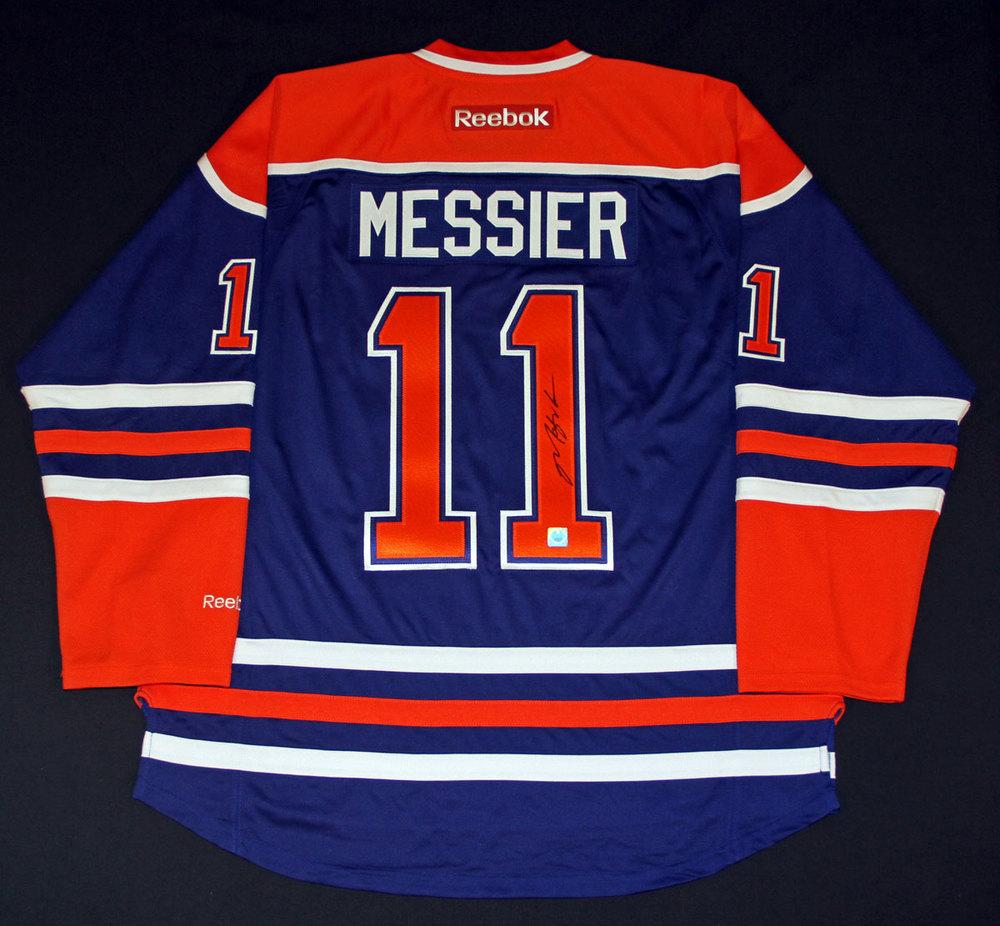 the latest 3eddc 17033 Mark Messier #11 - Autographed Edmonton Oilers Royal Blue ...