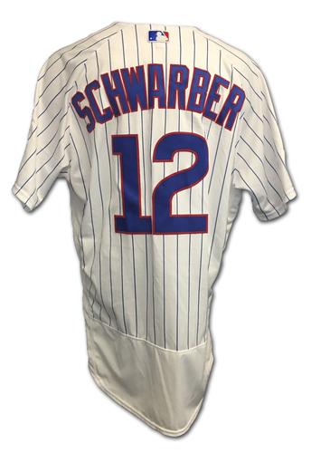 Kyle Schwarber 2017 Postseason Game-Used Jersey -- 10/9 vs. Nationals: NLDS Game 3 -- 10/18 vs. Dodgers: NLCS Game 4