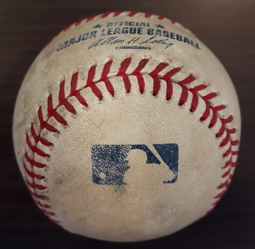 Photo of Authenticated Game Used Baseball - Single by Brett Lawrie against Andy Pettitte (September 17, 2013 vs New York Yankees). Bottom 1.