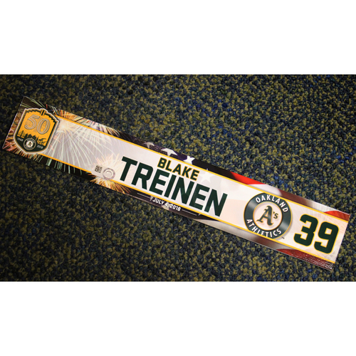 Photo of Oakland Athletics Blake Treinen Team-Issued 4th of July 2018 Locker Nameplate