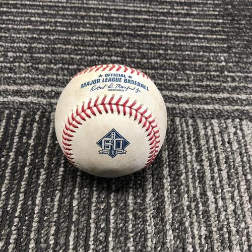 Photo of 2018 San Francisco Giants - Game-Used Baseball - 60th Anniversary - Austin Slater Singles off Chad Bettis - 6/26/18