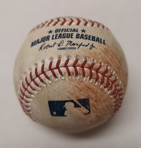 Photo of Authenticated Game Used Baseball - Neil Walker Single against Aaron Sanchez (March 30, 2018 vs NYY). Top 6.