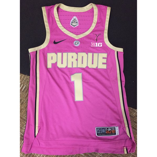Photo of Purdue Women's Basketball 2018-19 Commemorative Cancer Awareness Pink Jersey #1 / Size 40