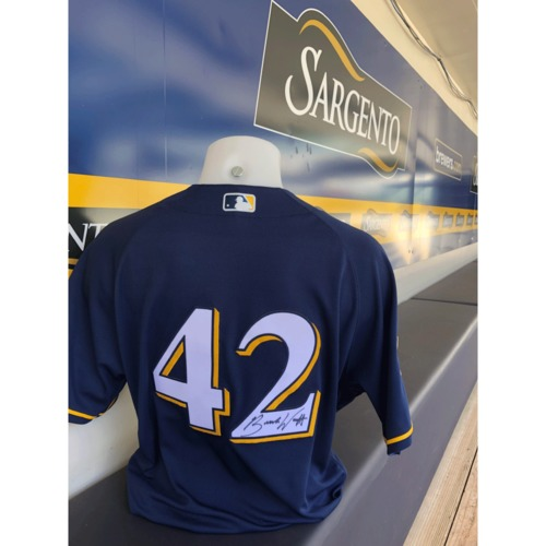 Photo of Brandon Woodruff Game Used, Autographed Jackie Robinson Day Jersey; 1-1, 2B