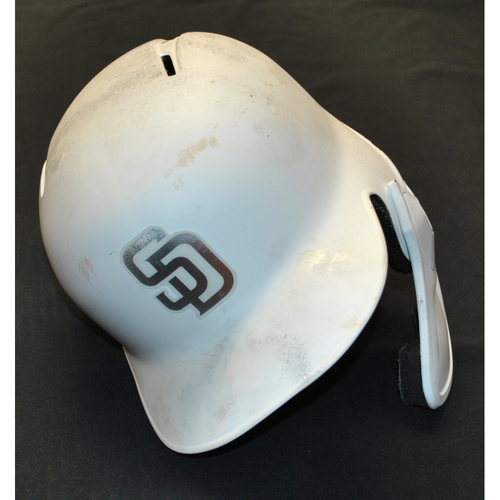 "Photo of Austin ""Tree, Hog Emojis"" Hedges San Diego Padres Game-Used 2019 Players' Weekend Helmet"