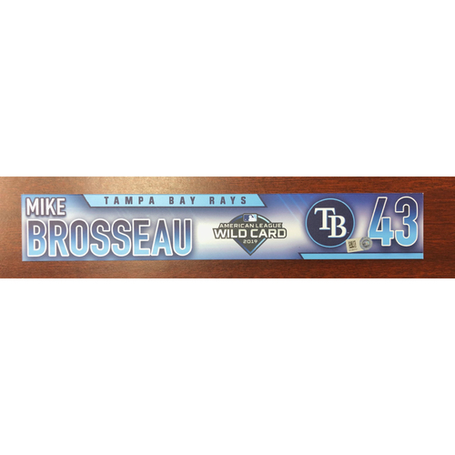 Photo of Game Used A.L. Wild Card Locker Tag: Michael Brosseau - First Career Post Season Game