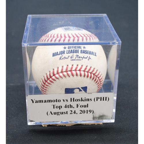 Photo of Game-Used Baseball: Jordan Yamamoto vs Rhys Hoskins (PHI), Top 4th, Foul - August 24, 2019
