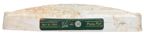 Photo of Game-Used 2nd Base -- Used in Innings 1 through 4 -- Brewers vs. Cubs -- 7/25/20