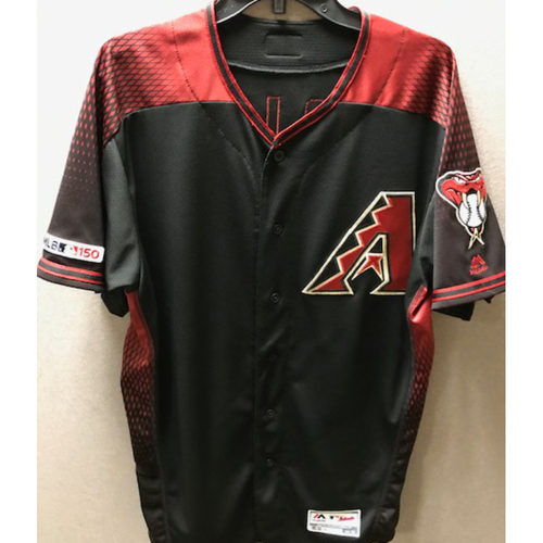 Photo of Josh Rojas 2019 Game-Used Black Alternate Jersey: 8/17/19 vs. Giants (Rojas made a pinch hit appearance in the game)