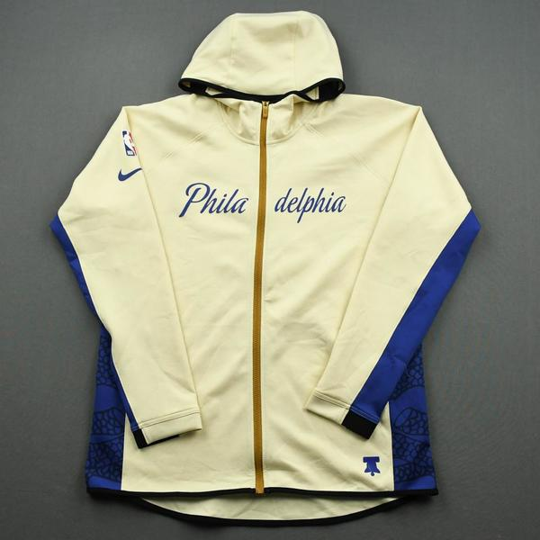 Image of Joel Embiid - Philadelphia 76ers - Game-Issued Earned Edition Game Theater Jacket  - 2019-20 NBA Season