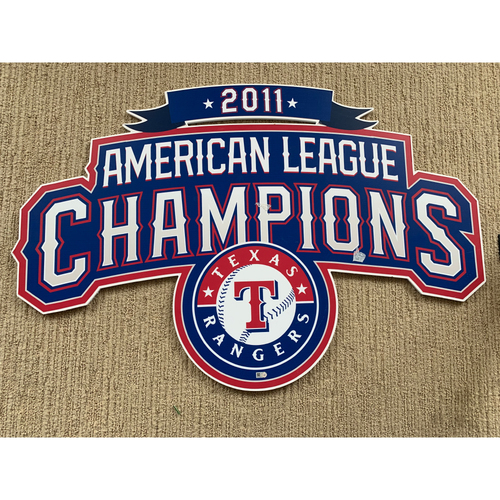 Photo of Texas Rangers 2011 American League Champions Signs Displayed In Weight Room of Home Clubhouse at Globe Life Park
