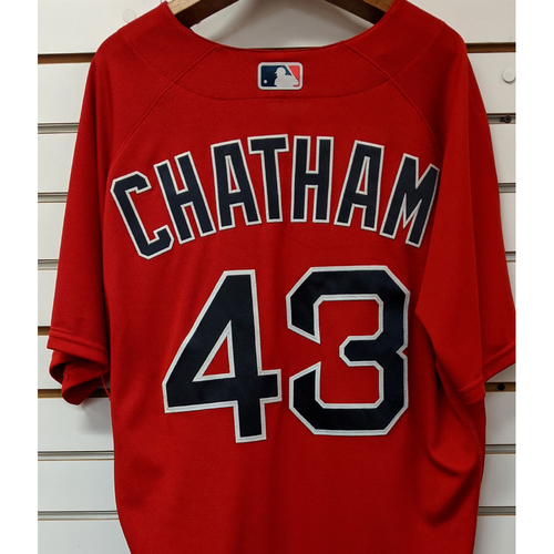 Photo of C.J. Chatham #43 Team Issued Nike Red Spring Training Jersey