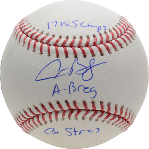 Photo of Alex Bregman Houston Astros Autographed Baseball with Multiple Inscriptions - #2 of a Limited Edition of 12