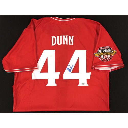 Photo of Adam Dunn - AUTOGRAPHED Game Used Jersey: Reds Hall of Fame Legends Game