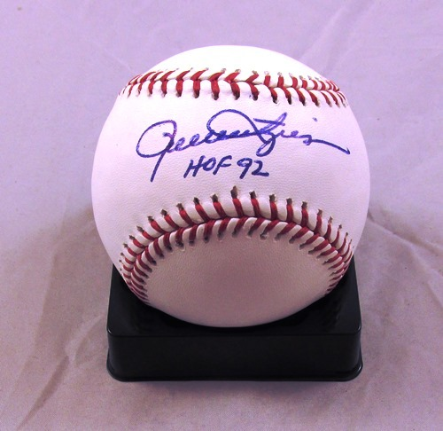 Photo of Rollie Fingers Autographed Official Major League Baseball with HOF 92 Inscription