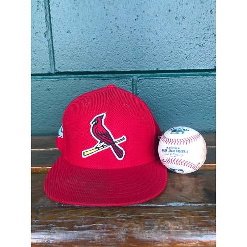 Photo of Cardinals Authentics: Michael Wacha Game-Used Pitched Baseball and Team Issued Spring Training Cap