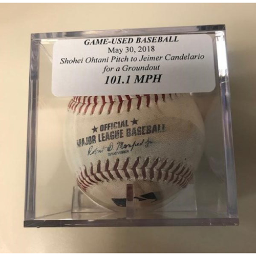 Photo of Game-Used Baseball: Shohei Ohtani Pitch (101.1 MPH) to Jeimer Candelario for a Ground Out