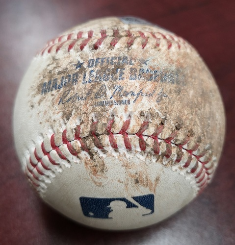 Photo of Authenticated Game Used Baseball - Foul ball by Xander Bogaerts. Mookie Betts Hit for the Cycle in the Game. (Aug 9, 2018 vs Ryan Borucki: Top 5). 1st MLB Cycle of 2018 Season.