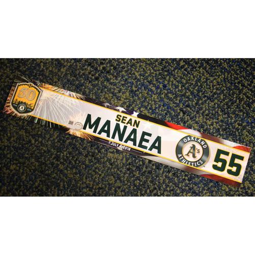 Photo of Oakland Athletics Sean Manaea Team-Issued 4th of July 2018 Locker Nameplate