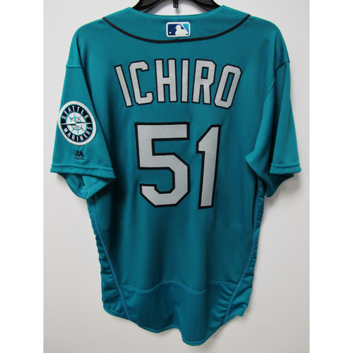 Photo of Ichiro Suzuki Team-Issued Green Jersey - May 16, 2018