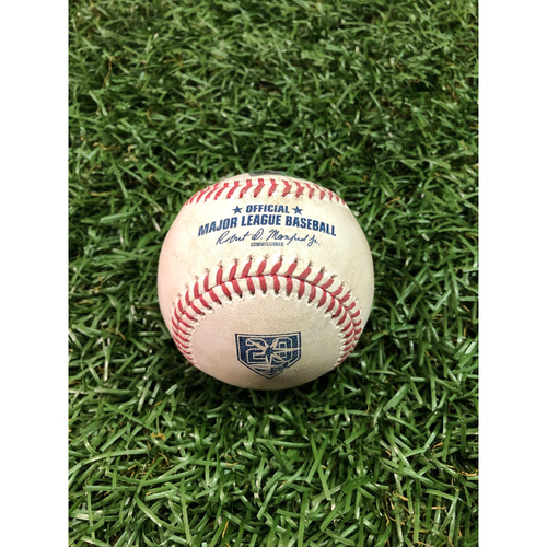 Photo of 20th Anniversary Game Used Baseball: Jaime Schultz strikes out Aaron Judge - September 24, 2018 v NYY