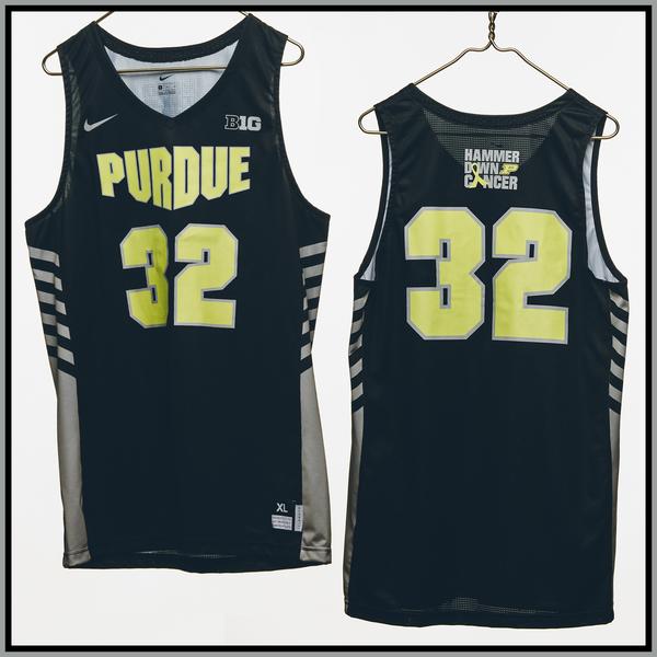 Photo of Purdue Basketball #32 Hammer Down Cancer Jersey, Worn By Matt Haarms