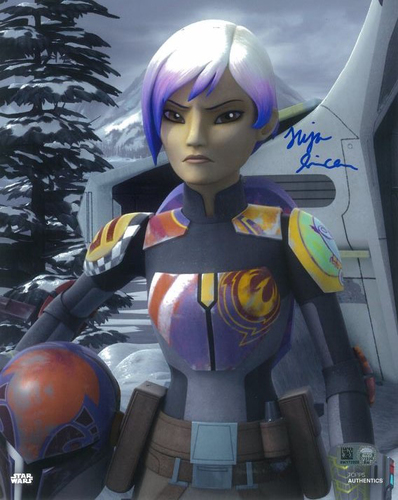 PREORDER Tiya Sircar As Sabine Wren 8X10 Autographed in Blue Ink Photo